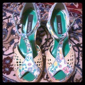 Floral print/espadrille peek a boo heels